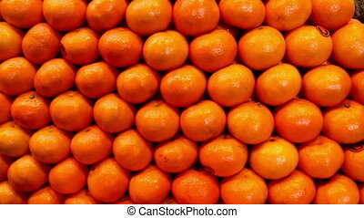 Oranges pile for sale in a fruit stand. Oranges are very...