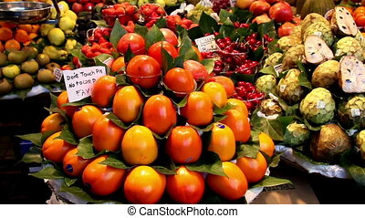 Fruits for sale on a fruit stand market - Fruits for sale on...