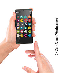 Hand hold Mobile phone with colorful application icons