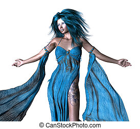 Fantasy woman with blue hair - Digitally rendered...