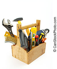 wooden tool box at work on a white background