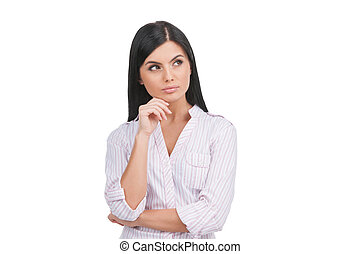 Thoughtful woman Confident young woman holding hand on chin...