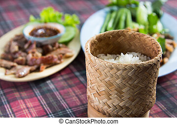 Sticky rice box - bamboo boxes of sticky rice style thai...