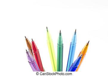 coloridos, canetas, isolado, branca