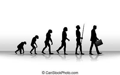 evolution - ironic illustration of human evolution up to...