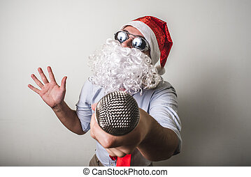 funny santa claus babbo natale singing on white background