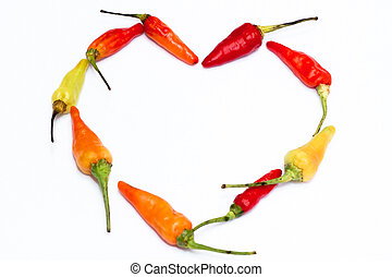 red chili forming heart