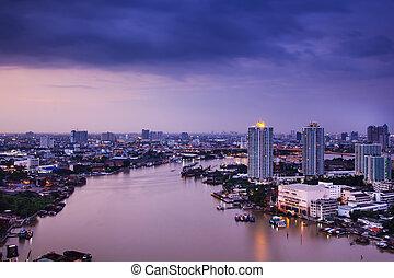 city night - Images of Bangkok city at twilight river