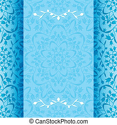 Invitation card with blue flowers - vector illustration