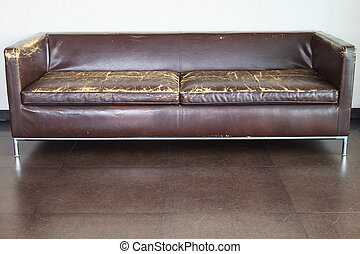 Old sofa - The old brown sofa set in the living room