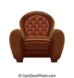 Brown armchair on white background - vector illustration