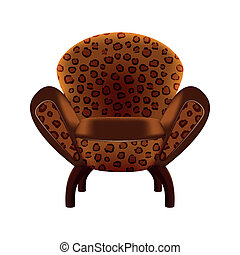 chair in leopard-print upholstery on white background -...