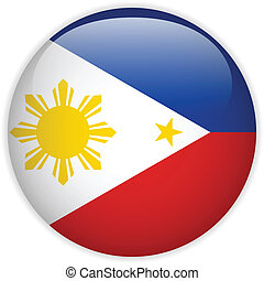 Philippines Flag Glossy Button - Vector - Philippines Flag...