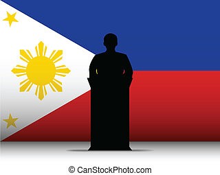Philippines  Speech Tribune Silhouette with Flag Background