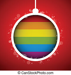 Gay Flag Merry Christmas Ball - Vector - Gay Flag Merry...