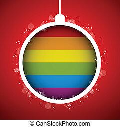 Gay Flag Merry Christmas Ball - Vector - Gay Flag Merry...