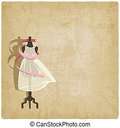 bride dress on old paper background - vector illustration