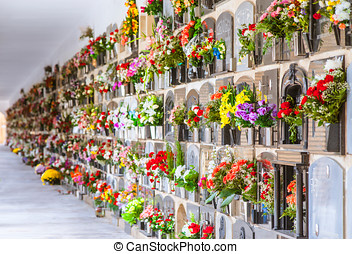 graves with flowers on a wall of a European cemetery