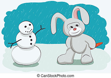 Snowman and bunny - Snowman and rabbit with carrot stolen -...