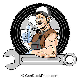 Cheerful tire specialist - Illustration of a smiling tire...