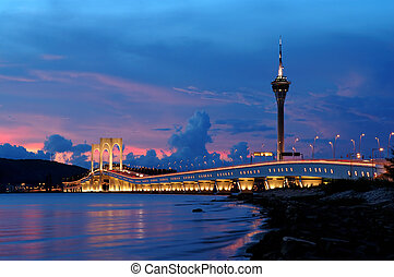Bridge and tower - The picture of bridge and tower of Macau