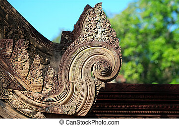 Carving of gopura at Banteay Sreiz, Cambodia