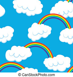 Seamless pattern with clouds and rainbow - vector...