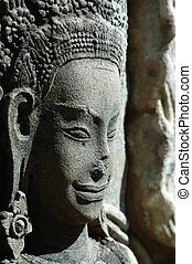 Sculptured apsara, Siem Reap, Cambodia - Close up of...