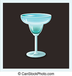 blue cocktail in glass - vector illustration