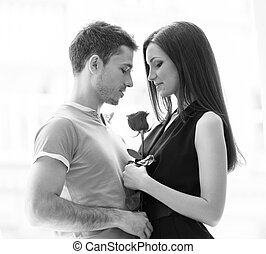 Loving couple Black and white image of beautiful young...