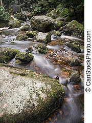 Becky Falls waterfall landscape in Dartmoor National Park...