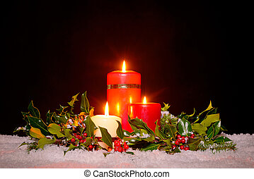 Christmas candles with garland, - Christmas still life of...