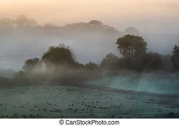Layers of fog over Autumn agricultural landscape - Foogy...