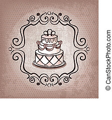 cake on polka dot background - vector illustration