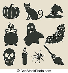 Halloween icons set - vector illustration
