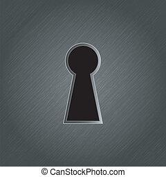 Keyhole on metal background - vector illustration