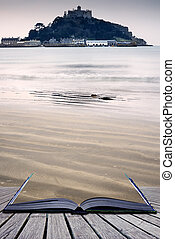 Creative concept pages of book St Michael's Mount Bay...