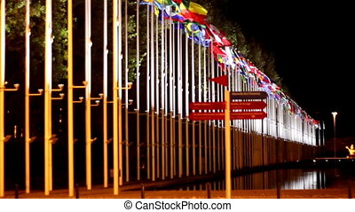 Waving flags on a park with different representations. They...