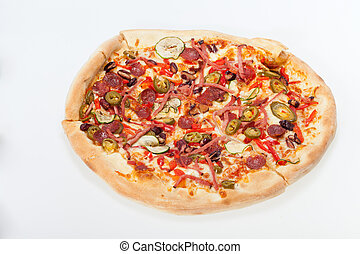 delicious italian pizza isolated over white background