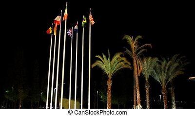 Waving flags of different nations on the park. They usually...