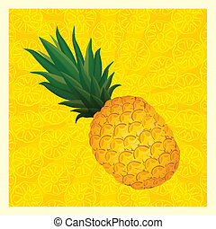 yellow pineapple background- vector illustration