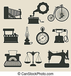 retro icons - vector illustration