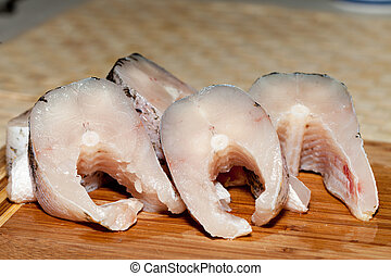 Piece of fresh raw fish The healthy diet