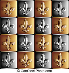 gold and silver seamless pattern the royal lily - vector...