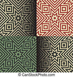 Seamless geometric patterns in the retro colors