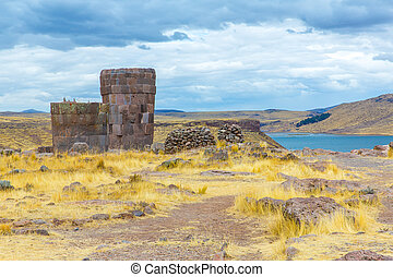 funerary, torres, Sillustani, Peru, SUL, America-, Inca,...