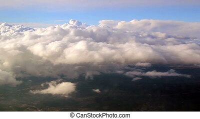 View above the clouds that can be seen when riding a plane....