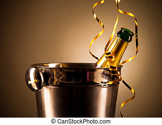 Champagne theme - Bottle of champagne in silver bucket
