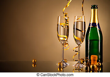 Celebration theme - Glasses of champagne with ribbons