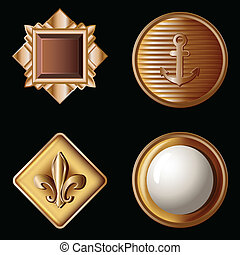 set of vintage gold buttons - vector illustration
